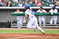 Tennessee Smokies second baseman Christian Donahue (6) swings at a pitch during a game against the Birmingham Barons at Smokies Stadium on May 15, 2019 in Kodak, Tennessee. The Smokies defeated the Barons 7-3. (Tony Farlow/Four Seam Images)