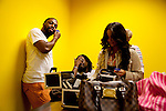 Rapper Wale has his face touched up by a make-up artist inside of Steed Media before a magazine portrait shoot in Atlanta, October 12, 2011.