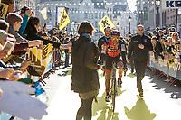 Greg Van Avermaet (BEL/BMC) on his way to the start in Antwerp<br /> <br /> 101st Ronde van Vlaanderen  2017 (1.UWT)<br /> 1day race: Antwerp-Oudenaarde (260km)