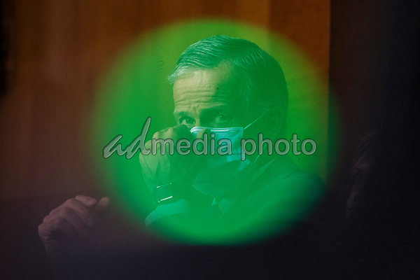 "United States Senator John Thune (Republican of South Dakota) adjusts his mask during a United States Senate Finance Committee hearing on ""COVID-19 and Beyond: Oversight of the FDA's Foreign Drug Manufacturing Inspection Process"" at the US Capitol in Washington, DC on June 2, 2020.<br /> Credit: Andrew Caballero-Reynolds / Pool via CNP/AdMedia"