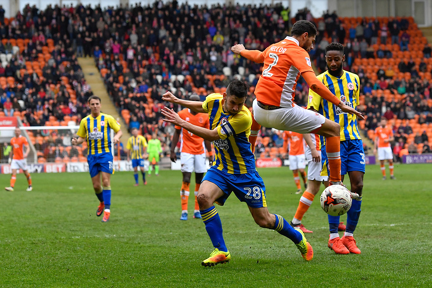 Blackpool's Kelvin Mellor battles with Accrington Stanley's Seamus Conneely<br /> <br /> Photographer Terry Donnelly/CameraSport<br /> <br /> The EFL Sky Bet League Two - Blackpool v Accrington Stanley - Friday 14th April 2017 - Bloomfield Road - Blackpool<br /> <br /> World Copyright &copy; 2017 CameraSport. All rights reserved. 43 Linden Ave. Countesthorpe. Leicester. England. LE8 5PG - Tel: +44 (0) 116 277 4147 - admin@camerasport.com - www.camerasport.com