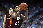 18 January 2015: Virginia Tech's Ahmed Hill. The University of North Carolina Tar Heels played the Virginia Tech University Hokies in an NCAA Division I Men's basketball game at the Dean E. Smith Center in Chapel Hill, North Carolina. UNC won the game 68-53.