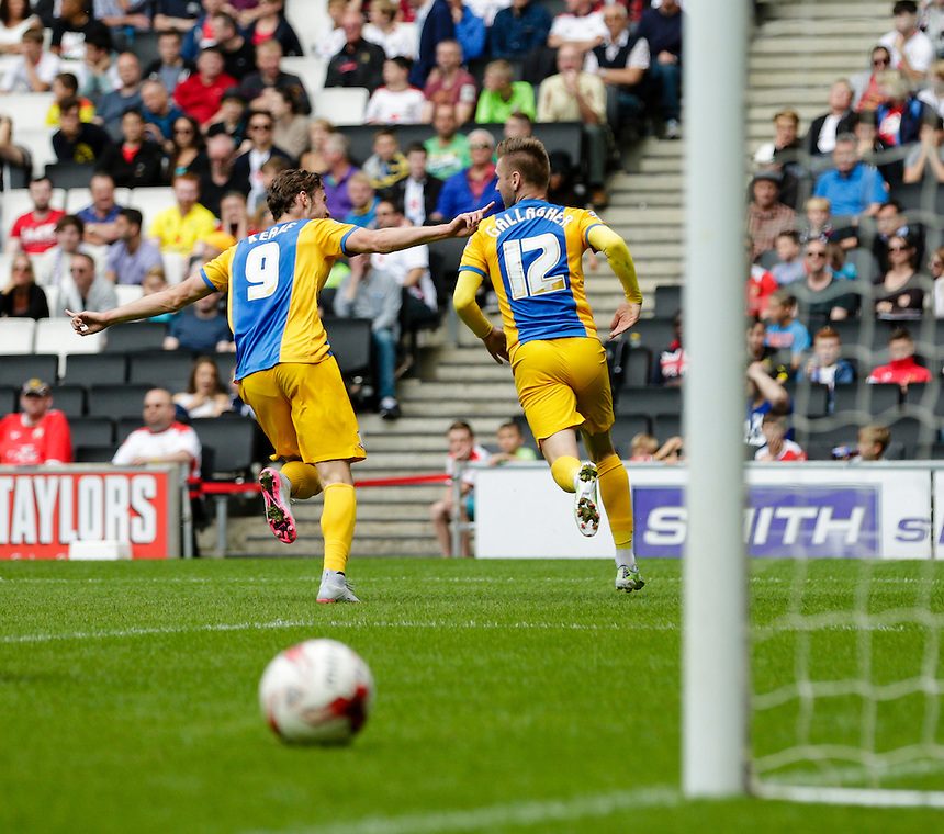 Preston North End's Will Keane and Paul Gallagher wheel away in celebration after the latter scores the opening goal<br /> <br /> Photographer Craig Mercer/CameraSport<br /> <br /> Football - The Football League Sky Bet Championship - Milton Keynes Dons v Preston North End - Saturday 15th August 2015 - Stadium:mk - Milton Keynes<br /> <br /> &copy; CameraSport - 43 Linden Ave. Countesthorpe. Leicester. England. LE8 5PG - Tel: +44 (0) 116 277 4147 - admin@camerasport.com - www.camerasport.com