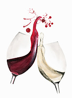Red and white wine glasses clinking in toast