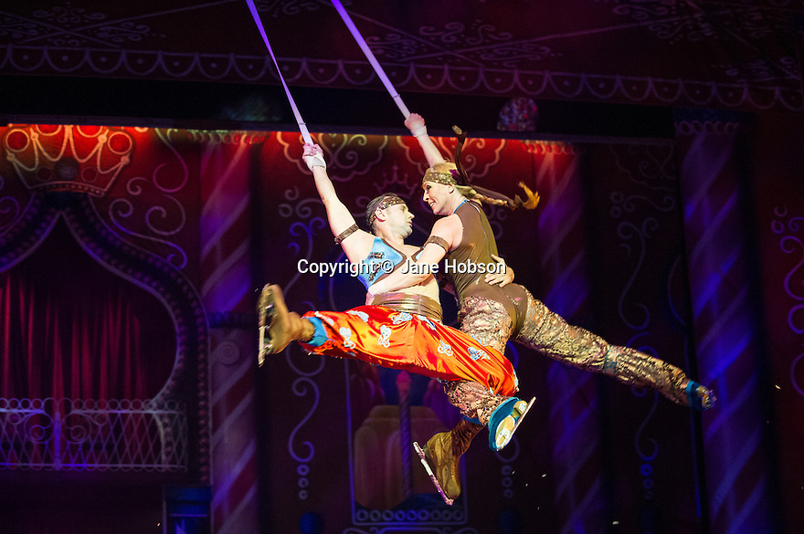 London, UK. 24.10.2013. NUTCRACKER ON ICE opens at the London Palladium, with The Imperial Ice Stars and featuring Keith Chegwin as Drosselmeyer. Picture shows: Fiona Kirk and Volodimyr Khodakivsky. Photograph © Jane Hobson.