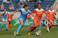 Bridgeview, IL - Saturday May 06, 2017: Christen Press, Bruna Benites during a regular season National Women's Soccer League (NWSL) match between the Chicago Red Stars and the Houston Dash at Toyota Park. The Red Stars won 2-0.