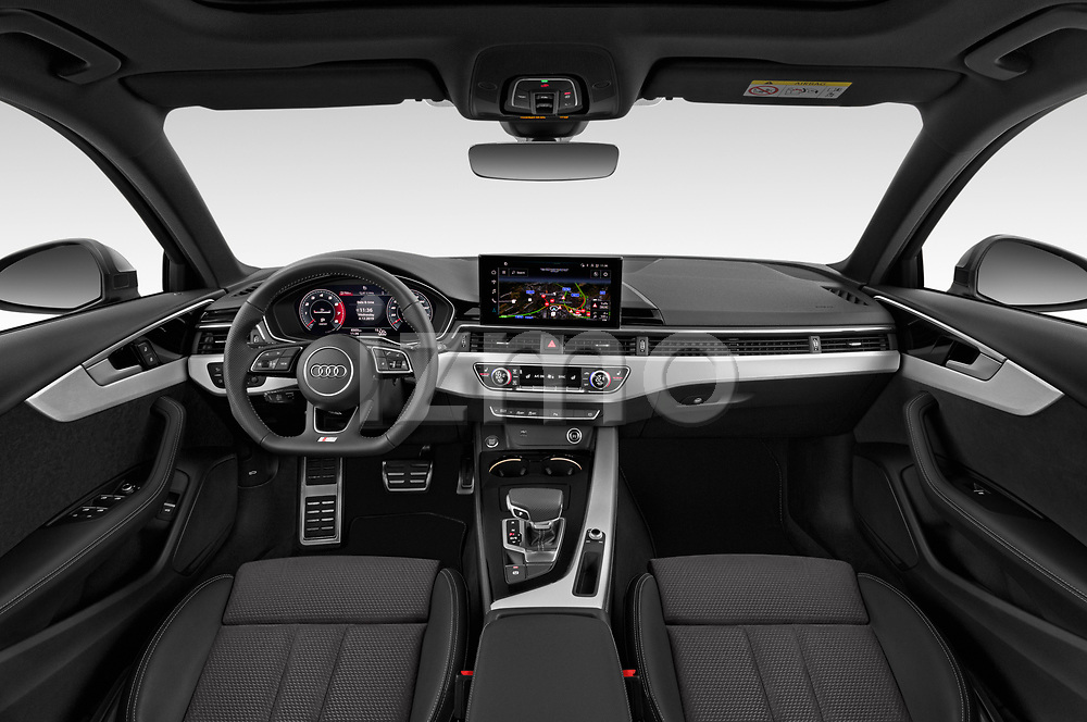 Stock photo of straight dashboard view of a 2020 Audi A4 S-Line 5 Door Wagon