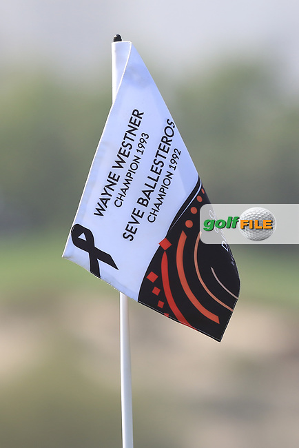 Flag on the 2nd during Round 3 of the Omega Dubai Desert Classic, Emirates Golf Club, Dubai,  United Arab Emirates. 26/01/2019<br /> Picture: Golffile | Thos Caffrey<br /> <br /> <br /> All photo usage must carry mandatory copyright credit (&copy; Golffile | Thos Caffrey)