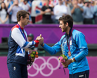 Andy Murray, Juan Martin Del Potro..Tennis - OLympic Games -Olympic Tennis -  London 2012 -  Wimbledon - AELTC - The All England Club - London - Sunday 5th August  2012. .© AMN Images, 30, Cleveland Street, London, W1T 4JD.Tel - +44 20 7907 6387.mfrey@advantagemedianet.com.www.amnimages.photoshelter.com.www.advantagemedianet.com.www.tennishead.net