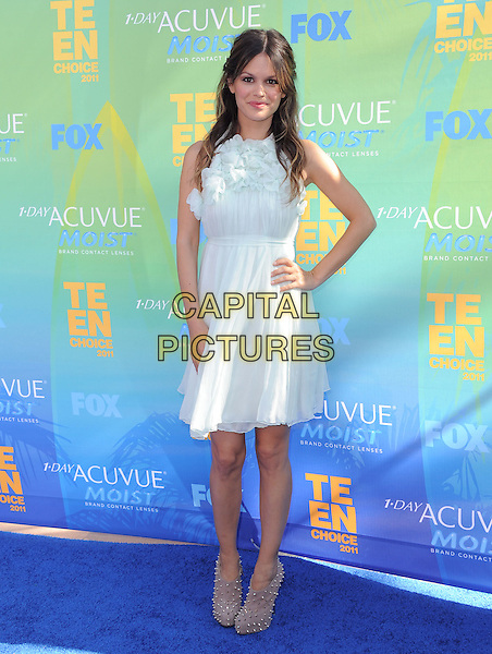 Rachel Bilson.2011 Teen Choice Awards - Arrivals held at Gibson Amphitheatre, Universal City, California, USA..August 7th, 2011.full length hand on hip white blue sheer dress.CAP/RKE/DVS.©DVS/RockinExposures/Capital Pictures.
