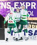 Stockholm 2015-01-06 Bandy Elitserien Hammarby IF - V&auml;ster&aring;s SK :  <br /> V&auml;ster&aring;s Jonas Nilsson firar sitt 6-4 m&aring;l med Ted Bergstr&ouml;m och Aksel Ekblom under matchen mellan Hammarby IF och V&auml;ster&aring;s SK <br /> (Foto: Kenta J&ouml;nsson) Nyckelord:  Elitserien Bandy Zinkensdamms IP Zinkensdamm Zinken Hammarby Bajen HIF V&auml;ster&aring;s VSK jubel gl&auml;dje lycka glad happy