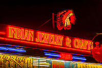 Neon signs, Skip Maisel Indian Jewelry & Crafts, Central Avenue SW (Historic Route 66), Downtown Albuquerque, New Mexico USA.