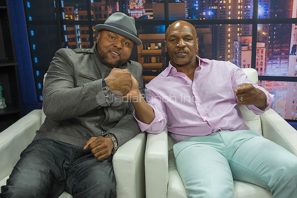 LAS VEGAS, NV - APRIL 26: TV show host Damon Elliott and former boxing heavyweight champion Mike Tyson at the Damon Elliott Show at Gino Studios on April 26, 2015 in Las Vegas, Nevada Credit: PGAS/MediaPunch