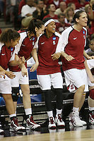 SACRAMENTO, CA - MARCH 29: Grace Mashore, Ashley Cimino, Melanie Murphy and Michelle Harrison during Stanford's 55-53 win over Xavier in the NCAA Women's Basketball Championship Elite Eight on March 29, 2010 at Arco Arena in Sacramento, California.