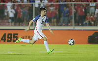Panama City, Panama - March 28, 2017: The U.S. Men's National team and Panama are all even 1-1 with Christian Pulisic contributing an assist during first half play in a 2018 World Cup Qualifying Hexagonal match at Estadio Rommel Fernandez.