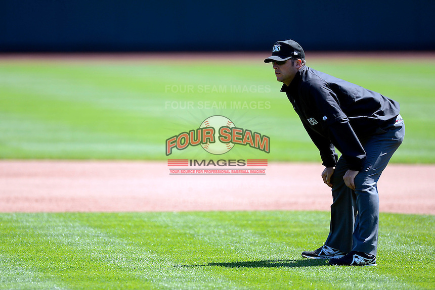 Umpire David Soucy during a game between the Columbus Clippers and Toledo Mudhens on April 22, 2013 at Huntington Park in Columbus, Ohio.  Columbus defeated Toledo 3-0.  (Mike Janes/Four Seam Images)