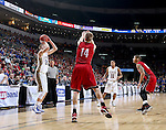 SIOUX FALLS, SD - MARCH 9: Reed Tellinghuisen #23 of SDSU attempts a shot over Casey Kasperbauer #14 of USD in the first half of their semi-final round Summit League Championship Tournament game Monday evening at the Denny Sanford Premier Center in Sioux Falls, SD. (Photo by Dick Carlson/Inertia)