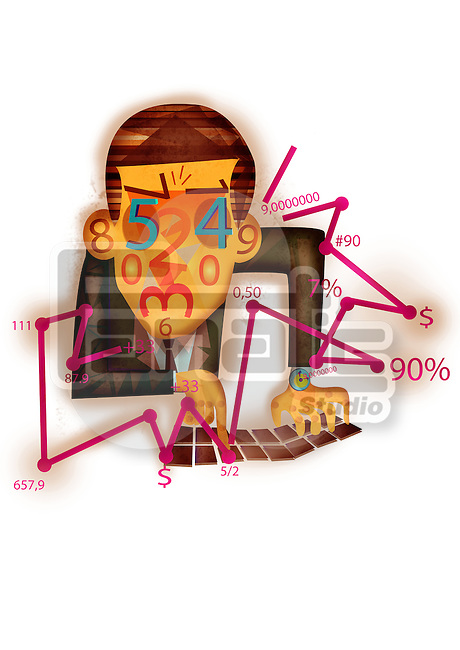 Representation of accountant with financial figures on face