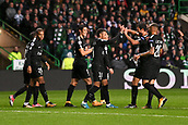 12th September 2017, Glasgow, Scotland; Champions League football, Glasgow Celtic versus Paris Saint Germain;  10 NEYMAR JR (psg) - 09 EDINSON CAVANI (psg) - 29 KYLIAN MBAPPE (psg) - 08 THIAGO MOTTA (psg) celebrate their first goal