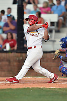 Johnson City Cardinals designated hitter Chris Chinea (22) swings at a pitch during a game against the Kingsport Mets on June 25, 2015 in Johnson City, Tennessee. The Mets defeated the Cardinals 10-8 (Tony Farlow/Four Seam Images)