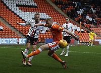 Charlton Athletic's Chris Solly and Blackpool's Chris Taylor<br /> <br /> Photographer Stephen White/CameraSport<br /> <br /> The EFL Sky Bet League One - Blackpool v Charlton Athletic - Saturday 8th December 2018 - Bloomfield Road - Blackpool<br /> <br /> World Copyright &copy; 2018 CameraSport. All rights reserved. 43 Linden Ave. Countesthorpe. Leicester. England. LE8 5PG - Tel: +44 (0) 116 277 4147 - admin@camerasport.com - www.camerasport.com
