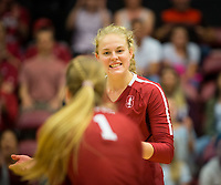 STANFORD, CA - November 2, 2018: Kathryn Plummer, Jenna Gray at Maples Pavilion. No. 1 Stanford Cardinal defeated No. 15 Colorado Buffaloes 3-2.