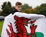 David Brooks of Sheffield Utd with the Welsh flag after he was named by Wales manager Chris Coleman in the Welsh squad for the World Cup Qualifiers against Georgia and Republic of Ireland. Shirecliffe, Sheffield. Picture date: September 29th 2017. Picture credit should read: Simon Bellis/Sportimage