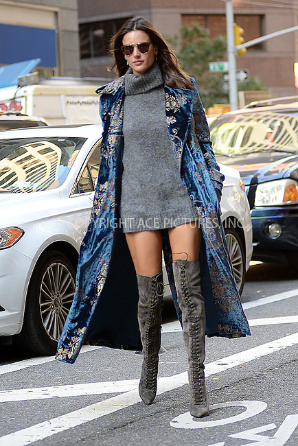 www.acepixs.com<br /> November 1, 2016  New York City<br /> <br /> Alessandra Ambrosio arrives to a fitting at Victoria's Secret in Midtown on November 1, 2016 in New York City.<br /> <br /> <br /> Credit: Kristin Callahan/ACE Pictures<br /> <br /> <br /> Tel: 646 769 0430<br /> Email: info@acepixs.com
