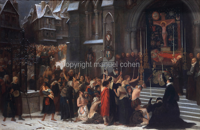 Funeral procession and ceremony in honour of the Duc de Guise assassinated in Blois, oil painting on canvas, 1868, by Arnold Scheffer, 1839-73, in the Salle du Conseil or Council Room, the site of the assassination of the Duc de Guise in 1588, on the second floor of the Francois I wing, built early 16th century in Italian Renaissance style, at the Chateau Royal de Blois, built 13th - 17th century in Blois in the Loire Valley, Loir-et-Cher, Centre, France. The murder is retold in several 19th century paintings hung in the room. The chateau has 564 rooms and 75 staircases and is listed as a historic monument and UNESCO World Heritage Site. Picture by Manuel Cohen