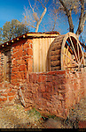 Sandstone Mill and Waterwheel, Crescent Moon Ranch, Red Rock Crossing, Sedona, Arizona