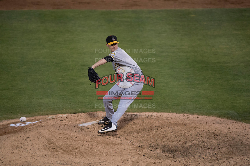 Salt Lake Bees starting pitcher Simon Mathews (3) delivers a pitch to the plate during a Pacific Coast League game against the Fresno Grizzlies at Chukchansi Park on May 14, 2018 in Fresno, California. Fresno defeated Salt Lake 4-3. (Zachary Lucy/Four Seam Images)