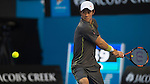 Key Nishikori (JPN) defeats Steve Johnson (USA) 6-7, 6-1, 6-2, 6-3  at the Australian Open being played at Melbourne Park in Melbourne, Australia on January 24, 2015