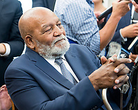 NFL legend Jim Brown listens as he and Kanye West meet with United States President Donald J. Trump in the Oval Office of the White House in Washington, DC on Thursday, October 11, 2018.<br /> Credit: Ron Sachs / CNP /MediaPunch