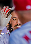 30 April 2017: Washington Nationals third baseman Anthony Rendon smiles in the dugout after hitting his third homer and notching his 10th RBI of the day in the 8th inning against the New York Mets at Nationals Park in Washington, DC. The Nationals defeated the Mets 23-5, with the Nationals setting several individual and team records, in the third game of their weekend series. Mandatory Credit: Ed Wolfstein Photo *** RAW (NEF) Image File Available ***