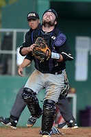 Defiance Yellow Jackets catcher Gary Levengood (22) during the first game of a doubleheader against the Edgewood College Eagles on March 11, 2014 at Terry Park in Fort Myers, Florida.  (Mike Janes/Four Seam Images)