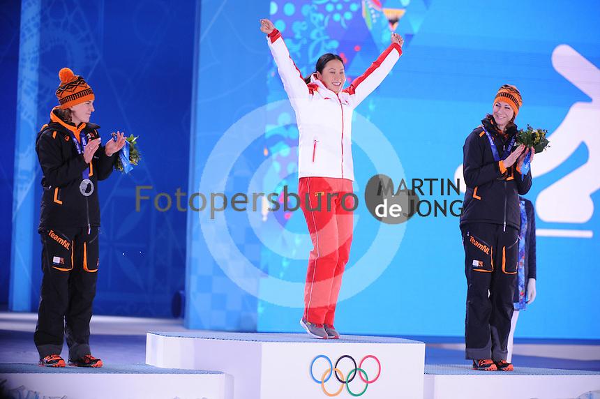 OLYMPICS: SOCHI: Medal Plaza, 14-02-2014, 1000m Ladies, podium, Ireen Wüst (NED), Hong Zhang (CHN), Margot Boer (NED), ©foto Martin de Jong