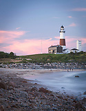 NEW YORK, Montauk, Montauk Lighthouse at Dusk.