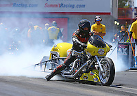 Apr 11, 2015; Las Vegas, NV, USA; NHRA top fuel Harley rider Ron Gledhill       during qualifying for the Summitracing.com Nationals at The Strip at Las Vegas Motor Speedway. Mandatory Credit: Mark J. Rebilas-