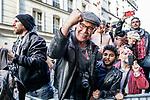 la soirée électorale de Jean-Luc Mélenchon et la France insoumise. en dehors de la  salle Belushi's<br /> 5 rue de Dunkerque, 75010 Paris.<br /> Dimanche 24 avril 2017, Paris.<br /> © Nicolas Righetti / Lundi13