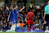Chelsea's Cesc Fabregas gets frustrated with Huddersfield Town's tactics during Chelsea vs Huddersfield Town, Premier League Football at Stamford Bridge on 9th May 2018