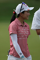 Ayako Uehara smiles walking off of the 9th green during Round 3 at the ANA Inspiration, Mission Hills Country Club, Rancho Mirage, Calafornia, USA. {03/31/2018}.<br />