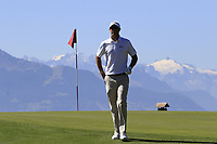Nicolas Colsaerts (BEL) walks off the 7th green during Saturday's Round 3 of the 2018 Omega European Masters, held at the Golf Club Crans-Sur-Sierre, Crans Montana, Switzerland. 8th September 2018.<br /> Picture: Eoin Clarke | Golffile<br /> <br /> <br /> All photos usage must carry mandatory copyright credit (&copy; Golffile | Eoin Clarke)