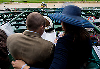 LOUISVILLE, KY - MAY 06: A man and woman look over the program on Kentucky Derby Day at Churchill Downs on May 6, 2017 in Louisville, Kentucky. (Photo by Douglas DeFelice/Eclipse Sportswire/Getty Images)