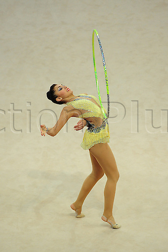 26.04.2013 Pesaro, Italy. Varvara Filiou of Greece during day one of the Rhythmic Gymnastic World Cup Series from the Adriatic Arena.