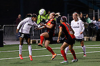 Rochester, NY - Friday April 29, 2016: Washington Spirit forward Crystal Dunn (19) and Western New York Flash forward Kristen Hamilton (17). The Washington Spirit defeated the Western New York Flash 3-0 during a National Women's Soccer League (NWSL) match at Sahlen's Stadium.