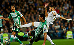 Karim Benzema of Real Madrid and Aissa Mandi of Real Betis Balompie during La Liga match between Real Madrid and Real Betis Balompie at Santiago Bernabeu Stadium in Madrid, Spain. November 02, 2019. (ALTERPHOTOS/A. Perez Meca)