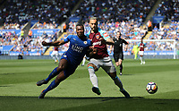 West Ham United's Marko Arnautovic and Leicester City's Wes Morgan<br /> <br /> Photographer Rob Newell/CameraSport<br /> <br /> The Premier League - Leicester City v West Ham United - Saturday 5th May 2018 - King Power Stadium - Leicester<br /> <br /> World Copyright &copy; 2018 CameraSport. All rights reserved. 43 Linden Ave. Countesthorpe. Leicester. England. LE8 5PG - Tel: +44 (0) 116 277 4147 - admin@camerasport.com - www.camerasport.com