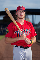 Matt Albanese (12) of the Elizabethton Twins poses for a photo prior to the game against the Danville Braves at American Legion Post 325 Field on July 1, 2017 in Danville, Virginia.  The Twins defeated the Braves 7-4.  (Brian Westerholt/Four Seam Images)