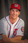 22 February 2019: Washington Nationals pitcher Erick Fedde poses for his Photo Day portrait at the Ballpark of the Palm Beaches in West Palm Beach, Florida. Mandatory Credit: Ed Wolfstein Photo *** RAW (NEF) Image File Available ***