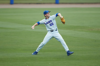 Florida Gators center fielder Ryan Larson (66) throws the ball back to the infield during the game against the Wake Forest Demon Deacons in Game Two of the Gainesville Super Regional of the 2017 College World Series at Alfred McKethan Stadium at Perry Field on June 11, 2017 in Gainesville, Florida.  (Brian Westerholt/Four Seam Images)